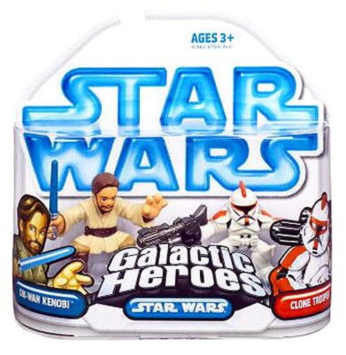 Star Wars Attack of the Clones Galactic Heroes 2008 Obi-Wan Kenobi & Clone Trooper Mini Figure 2-Pack