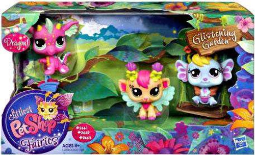 Littlest Pet Shop Fairies Glistening Garden Dragon, Daylily & Lavender Exclusive Figure 3-Pack #2661, 2662, 2663