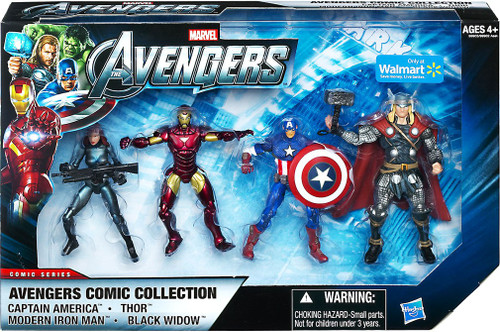 Marvel Avengers Comic Series Captain America, Thor, Iron Man & Black Widow Exclusive Action Figure 4-Pack