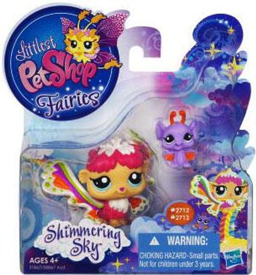 Littlest Pet Shop Fairies Shimmering Sky Rain Prism Fairy & Bat Figure 2-Pack #2712, 2713