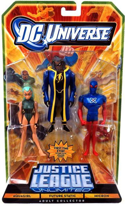DC Universe Justice League Unlimited Aquagirl, Future Static & Micron Exclusive Action Figures