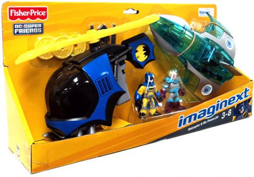Fisher Price DC Super Friends Batman Imaginext Batcopter & Mr. Freeze Jet Exclusive 3-Inch Figure Set
