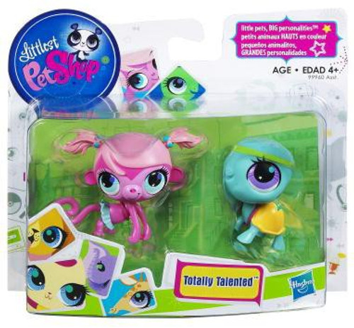 Littlest Pet Shop Totally Talented Pets Monkey & Turtle Figure 2-Pack