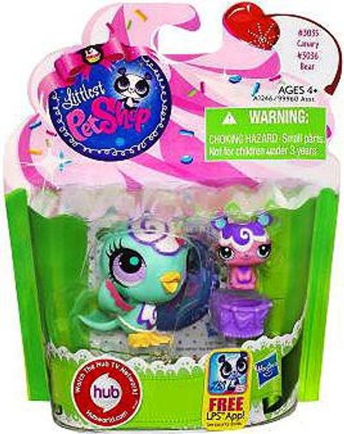 Littlest Pet Shop Canary & Bear Friend Figure 2-Pack #3035, 3036