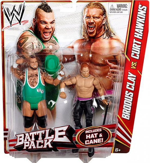 WWE Wrestling Series 20 Brodus Clay vs. Curt Hawkins Action Figure 2-Pack [Hat & Cane]