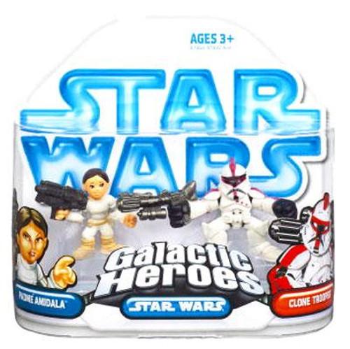 Star Wars Attack of the Clones Galactic Heroes 2008 Padme Amidala & Clone Trooper Mini Figure 2-Pack