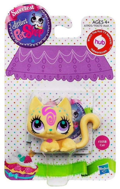 Littlest Pet Shop Sweetest Cat Figure #3058 [Yellow with Pink Swirls]