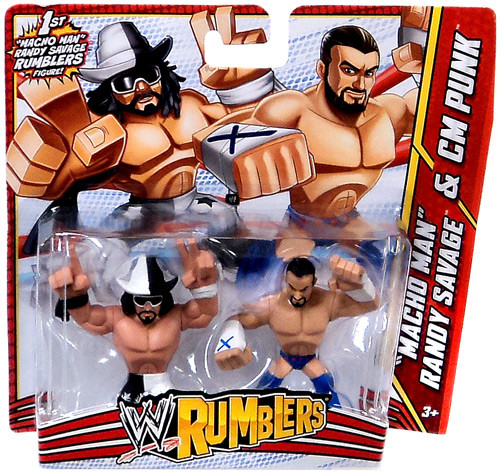 WWE Wrestling Rumblers Series 3 Macho Man Randy Savage & CM Punk Mini Figure 2-Pack