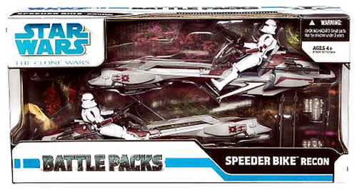 Star Wars The Clone Wars Battle Packs 2009 Speeder Bike Recon Exclusive Action Figure Set