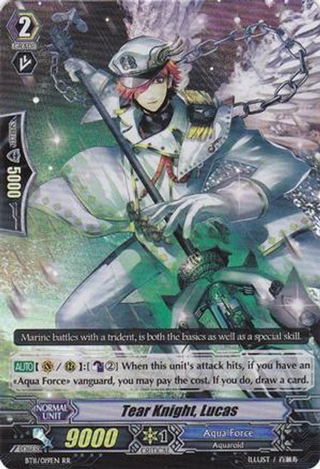 Cardfight Vanguard Seal Dragons Unleashed RR Rare Tear Knight, Lucas BT11/019