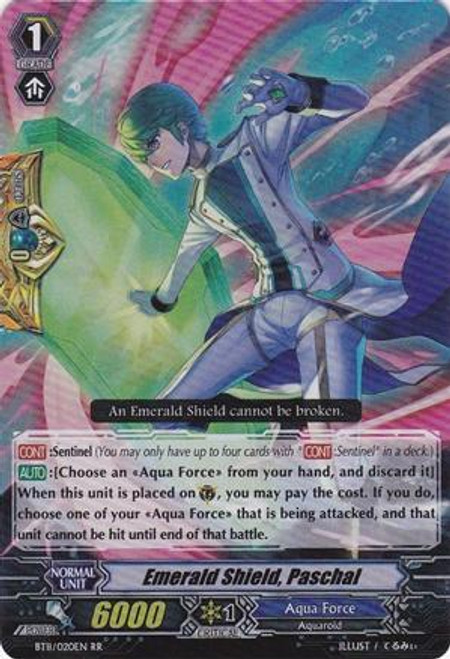 Cardfight Vanguard Seal Dragons Unleashed RR Rare Emerald Shield, Paschal BT11/020