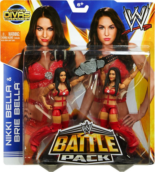 WWE Wrestling Series 26 Nikki Bella & Brie Bella Action Figure 2-Pack [Red Outfits, Divas Championship]