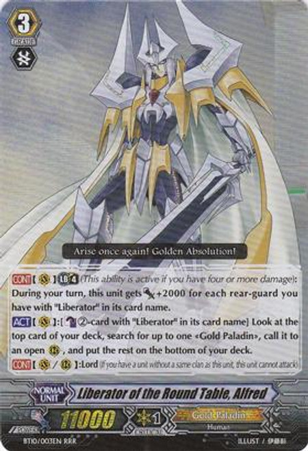 Cardfight Vanguard Triumphant Return of the King of Knights RRR Rare Liberator of the Round Table, Alfred BT10/003