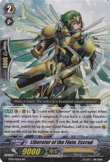 Cardfight Vanguard Triumphant Return of the King of Knights RR Rare Liberator of the Flute, Escrad BT10/012