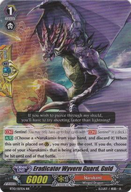 Cardfight Vanguard Triumphant Return of the King of Knights RR Rare Eradicator Wyvern Guard, Guld BT10/017