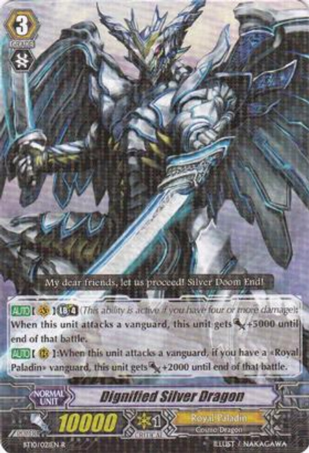 Cardfight Vanguard Triumphant Return of the King of Knights Rare Dignified Silver Dragon BT10/021