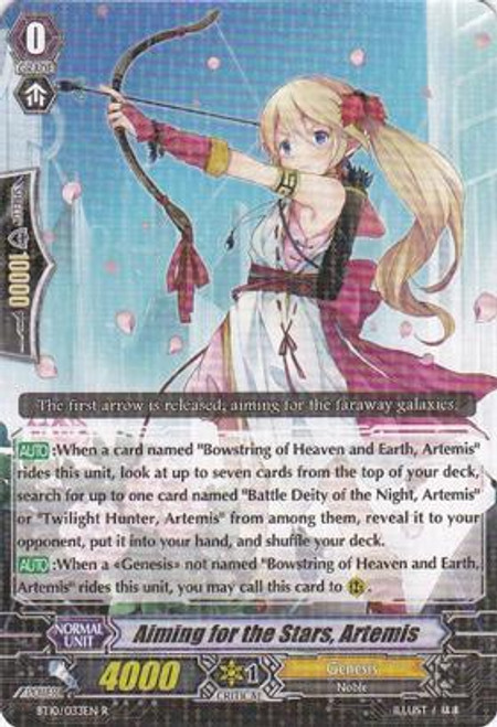 Cardfight Vanguard Triumphant Return of the King of Knights Rare Aiming for the Stars, Artemis BT10/033