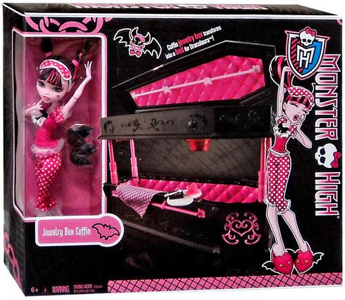 Monster High Frights, Camera, Action Draculaura's Jewelry Box Coffin 10.5-Inch [With Draculaura Doll]