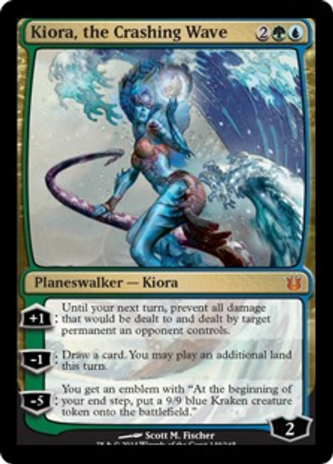 MtG Born of the Gods Mythic Rare Kiora, the Crashing Wave #149