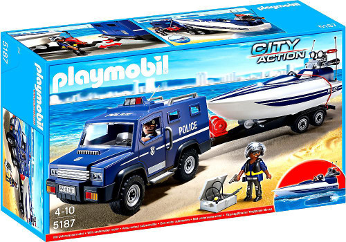 Playmobil City Action Police Truck with Speedboat Set #5187