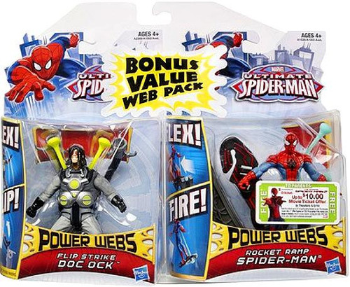 Ultimate Spider-Man Power Webs Flip Strike Doc Ock & Rocket Ramp Spider Man Exclusive Action Figure 2-Pack