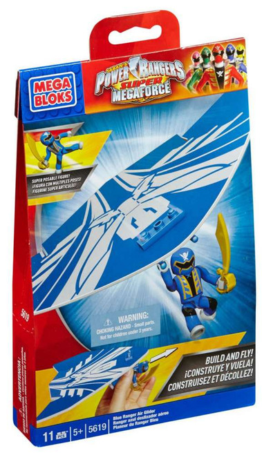 Mega Bloks Power Rangers Super Megaforce Blue Ranger Air Glider Set #5619