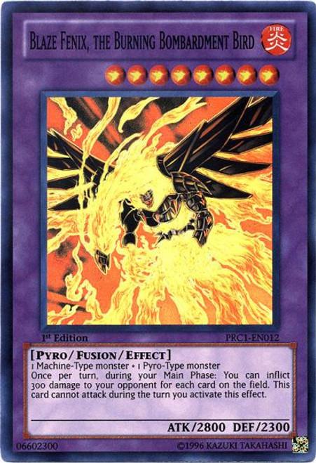 YuGiOh 2012 Premium Collector Tin Super Rare Blaze Fenix, the Burning Bombardment Bird PRC1-EN012