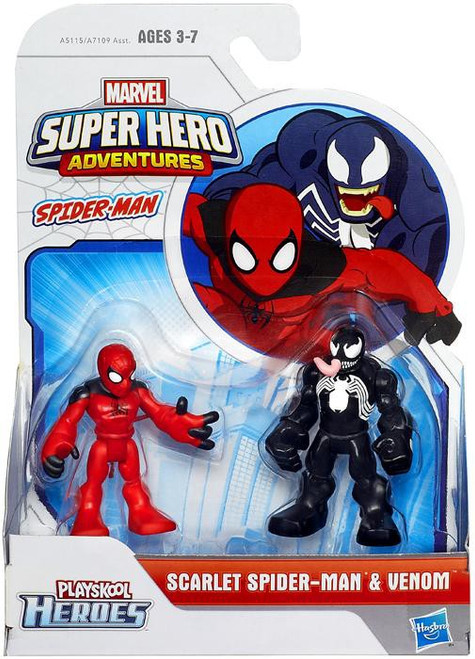 Marvel Playskool Heroes Super Hero Adventures Scarlet Spider-Man & Venom Action Figure 2-Pack