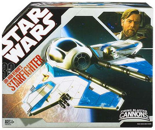 Star Wars Revenge of the Sith 2007 30th Anniversary Obi-Wan Kenobi's Starfighter Action Figure Vehicle [Blue Trim]