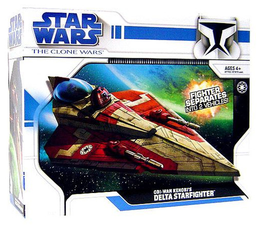 Star Wars The Clone Wars Vehicles 2008 Obi-Wan Kenobi's Delta Starfighter Action Figure Vehicle [Version 1]