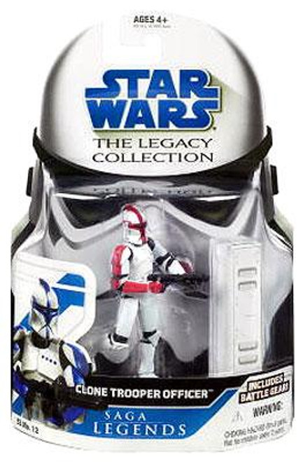 Star Wars Attack of the Clones Legacy Collection 2008 Saga Legends Clone Trooper Officer Action Figure SL12 [Red Trim]