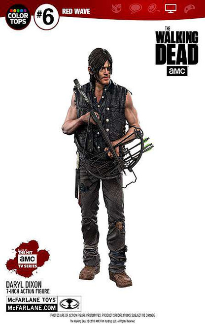 mcfarlane toys walking dead color tops red wave daryl