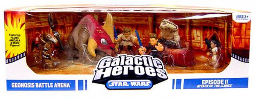 Star Wars Attack of the Clones Galactic Heroes Cinema Scenes Geonosis Battle Arena Mini Figure Set