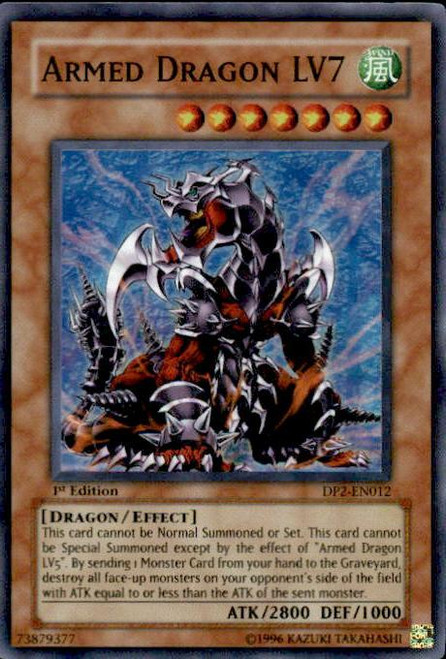 YuGiOh GX Duelist Pack Chazz Super Rare Armed Dragon LV7 DP2-EN012