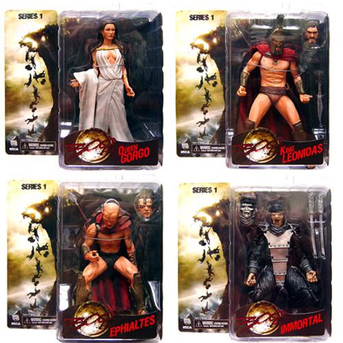 NECA 300 King Leonidas, Queen Gorgo, Immortal & Ephialtes Set of 4 Action Figures