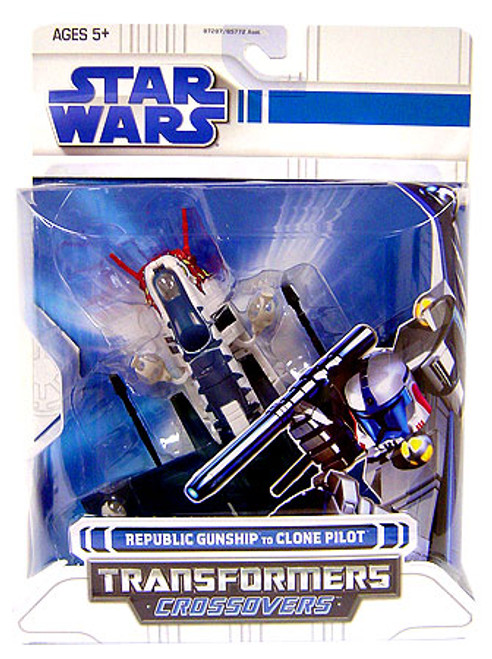 Star Wars The Clone Wars Transformers Crossovers 2008 Republic Gunship to Clone Pilot Action Figure