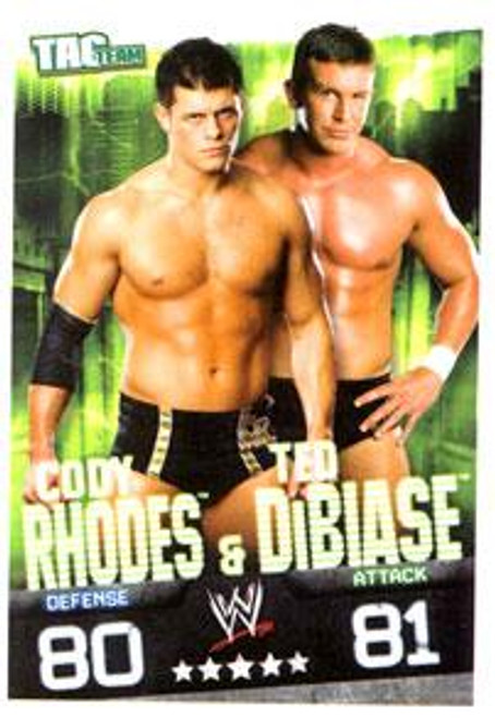 WWE Wrestling Slam Attax Evolution Series 1 Tag Team Base Card Cody Rhodes & Ted DiBiase