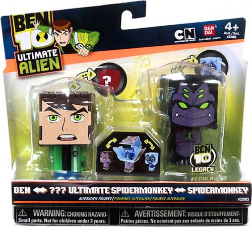 Ben 10 Ultimate Alien Transforming Figures Ben to Water Hazard & Ultimate Spidermonkey to Spidermonkey 2.5-Inch Figure 2-Pack