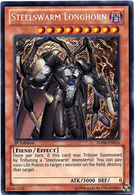 YuGiOh Zexal Hidden Arsenal 6: Omega XYZ Secret Rare Steelswarm Longhorn HA06-EN016