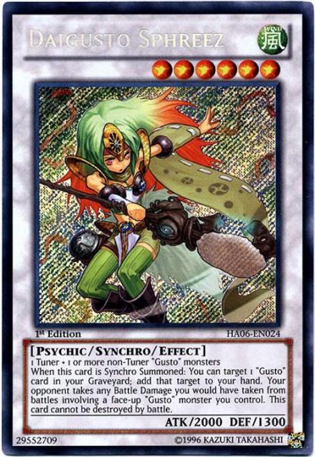 YuGiOh Zexal Hidden Arsenal 6: Omega XYZ Secret Rare Daigusto Sphreez HA06-EN024