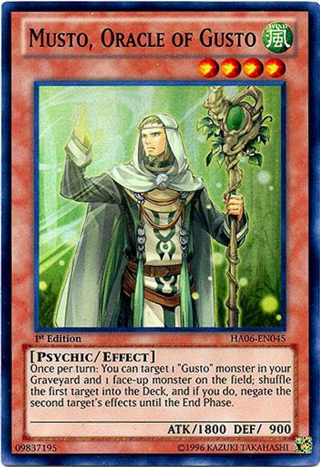 YuGiOh Zexal Hidden Arsenal 6: Omega XYZ Super Rare Musto Oracle of Gusto HA06-EN045