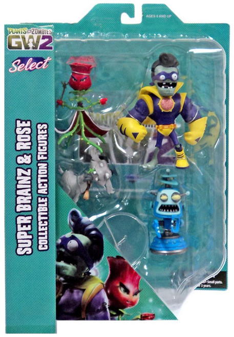 Plants Vs Zombies Garden Warfare 2 Select Series 1 Rose Vs Captain Brainz Action Figures