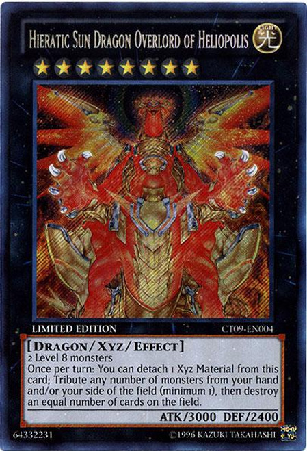 YuGiOh Holiday Tin Promo Secret Rare Hieratic Sun Dragon Overlord of Heliopolis CT09-EN004