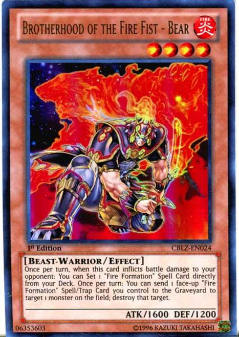 YuGiOh Zexal Cosmo Blazer Ultra Rare Brotherhood of the Fire Fist - Bear CBLZ-EN024
