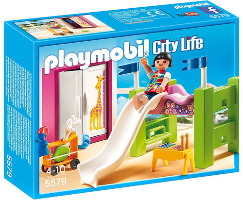 Playmobil city life childrens room with loft bed and slide for Cuisine playmobil