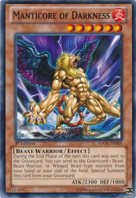 YuGiOh Structure Deck: Onslaught of the Fire Kings Common Manticore of Darkness SDOK-EN005