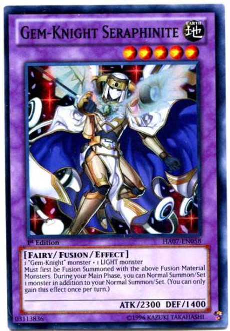 YuGiOh Zexal Hidden Arsenal 7: Knight of Stars Super Rare Gem-Knight Seraphinite HA07-EN058