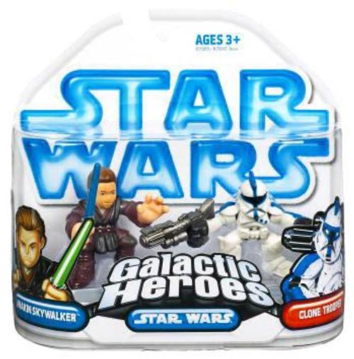 Star Wars Attack of the Clones Galactic Heroes 2009 Anakin Skywalker & Clone Trooper [Blue] Mini Figure 2-Pack