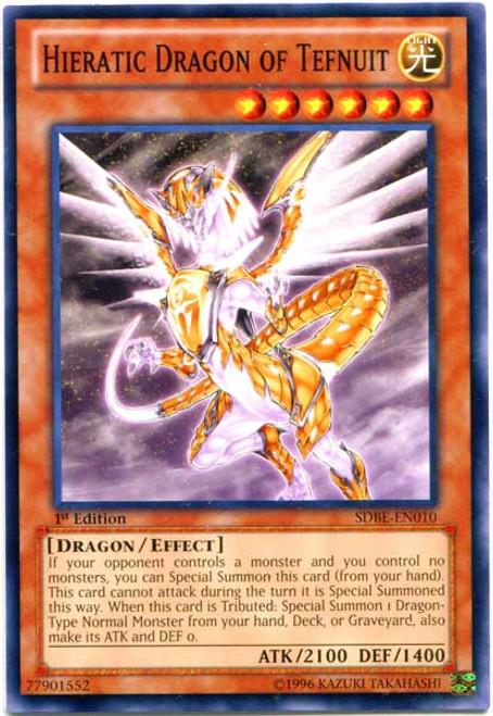YuGiOh Saga of Blue-Eyes White Dragon Structure Deck Common Hieratic Dragon of Tefnuit SDBE-EN010