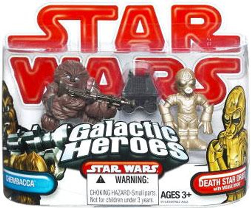 Star Wars A New Hope Galactic Heroes 2009 Chewbacca, Death Star Droid & Mouse Droid Mini Figure 3-Pack